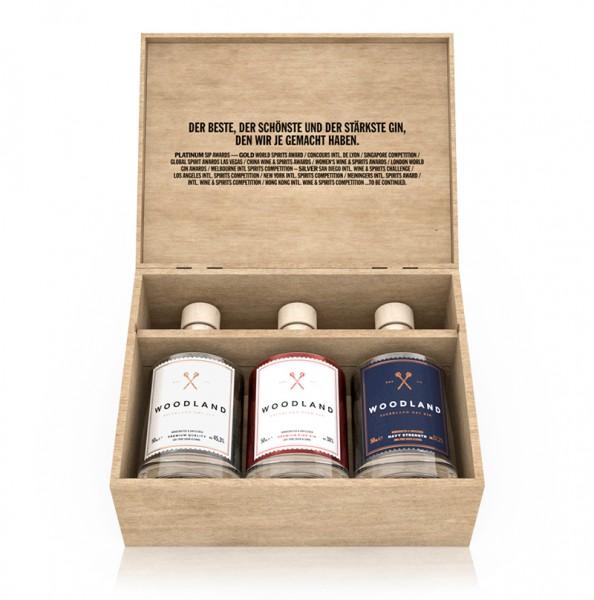 WOODLAND Gin Triologie-Holzbox